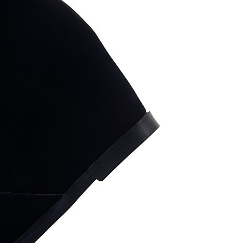 Allhqfashion Womens Pu Glassato Tacco Chiuso Stivali A Tacco Medio In Pelle Di Vitello Nero