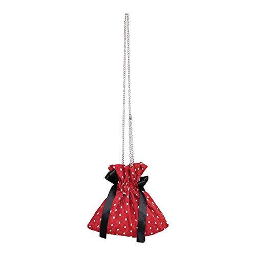 Small Fashion Women Polka Dot Drawstring Bucket Bag Chiffon Cross-Body Handbag Purse for Travel Dot Red
