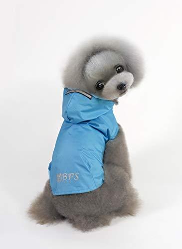 BPS® Chubasqueros Impermeables para Mascotas Perros, Impermeables con Capucha para Perro Pequeño Mediano y Grande con Material 100% Poliéster (Azul 2, ...