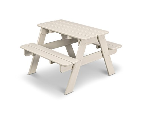 POLYWOOD KT130SA Kids Picnic Table, Sand (Polywood Table Picnic With Benches)