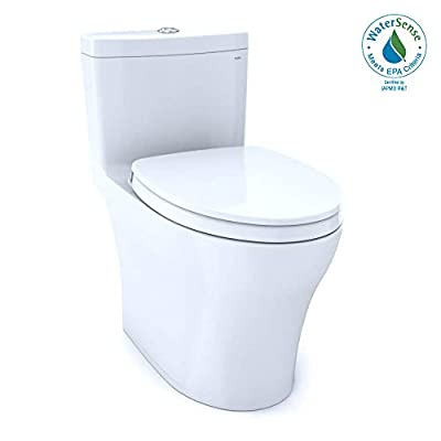 TOTO MS646124CUMFG#01 Aquia IV One-Piece Elongated Dual Flush 1.0 and 0.8 GPF Universal Height, WASHLET+ Ready Toilet with CEFIONTECT, White-MS646124CUMFG, Cotton White