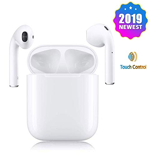 Wireless Earbuds Wireless Bluetooth Headphones with Stereo Built-in-Mic & Charging Case Compatible with Phone X 8Plus 6 iPod Shuffle lPod Nano 7 Samsung and,More Four Airpod Sports Earphone