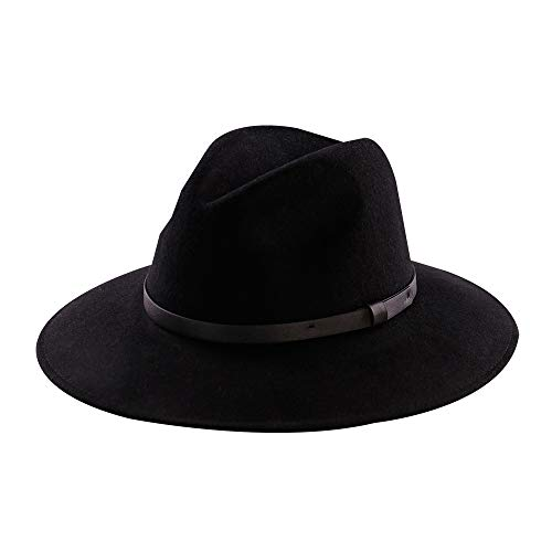 Wool Felt Hat,Wide Brim Fedora Hats Men Women Trilby Outback Cowboy Panama Caps with Vintage Leather Band (L:7 3/8-23inch, ()