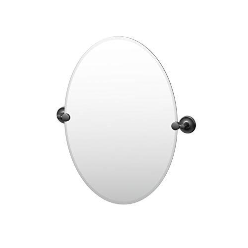 Gatco Desinger II Frameless Oval Mirror, 26.5 Inch, Matte - Bathroom Mirrors Oval Farmhouse