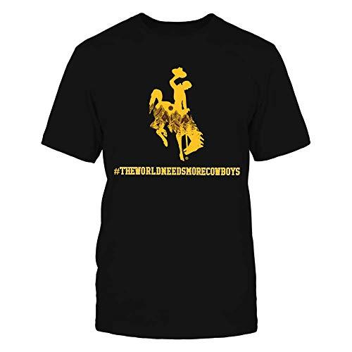 FanPrint Wyoming Cowboys T-Shirt - The World Needs More Cowboys - Mountain Mascot - Premium Men's Tee/Black/L
