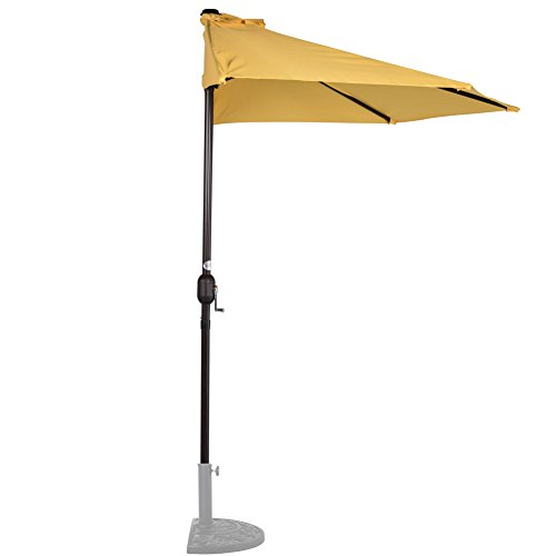 Umbrella Market Base 9 (Sundale Outdoor 9 Feet Steel Half Umbrella Table Market Patio Umbrella with Crank and Strap for Garden, Deck, Backyard, Pool, 5 Steel Ribs, 100% Polyester Canopy (Yellow))