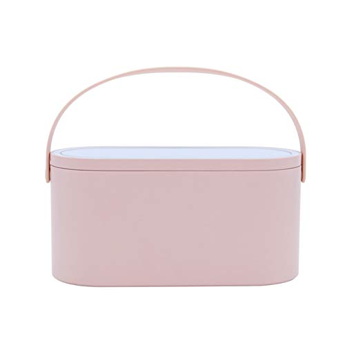 Hankyky Travel Makeup Case Portable Cosmetic Organizer Storage Box with LED Lighted Mirror Cover Cosmetic Travel Carrying Cases