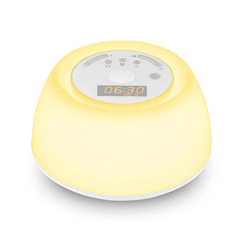 Digital Sunrise Alarm LED Clock - Wake Up Light, INLIFE Sleep Aid Lamp with White Noise, 4 Sleep Therapy Music, 4 Natural Sounds, 30 Volume Levels, Snooze Function and Timer with Sunrise Simulation