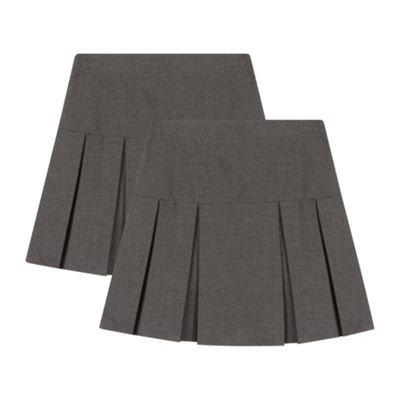 Debenhams Kids Girls' Kilt School Skirts Age 3-12 Years Pack of Two, Grey