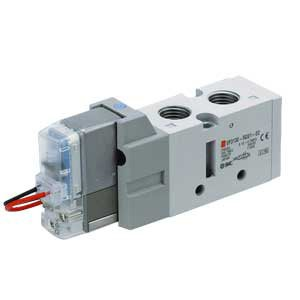 SMC VF3230-5DZ1-02 - Air Control Valve - Body Ported (Side), 2 Solenoids, Number of Positions 2, DIN Terminal, 0.75 (4/2 to 5/3 (A/B to EA/EB)) C, 1 (1 to 4/2 (P to A/B)) C Flow Coefficien