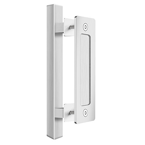 SMARTSTANDARD SHH0802STAINLESS Flush Square Set, Pull Sliding Barn Door Hardware Handle, 12
