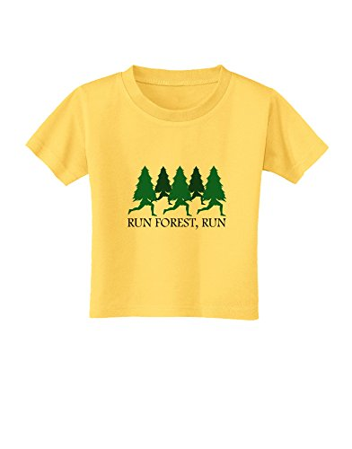 TooLoud Run Forest Run Funny Toddler T-Shirt - Yellow - 2T