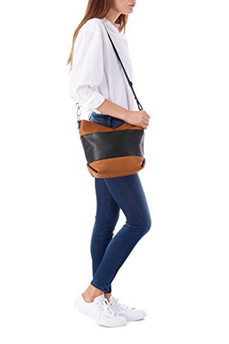 Bag Black Italian Cross Leather Body Shoulder and White Bucket 0q4wvzqY