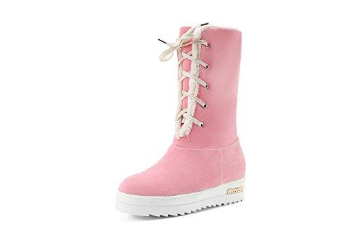 BalaMasa Womens Bandage Platform Foldable Frosted Boots Pink m9j3ILZ