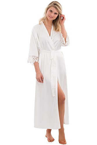 VEAMI Clementine Lace Satin Robe, Lightweight Robe for Women, Long- White Magnolia- X-Large