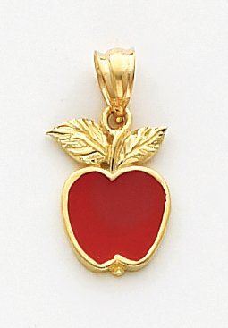 Quality Gold Red Enameled Apple Charm, 14K Yellow Gold (Yellow Gold Enameled Apple)