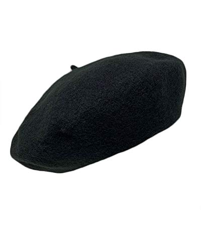 (The Hatter French Casual Classic Solid Women Wool Beret Hat (Black))