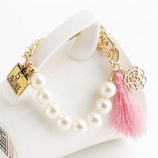 Xu Ya Korean fashion personality hollow gold-plated handbag faceplate string tassel pearl bracelet female (Gold Plated Faceplates)