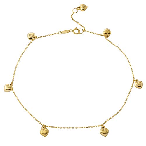 Women's 14k Yellow Gold Rolo Chain Puffy Heart Charm Bracelet, -