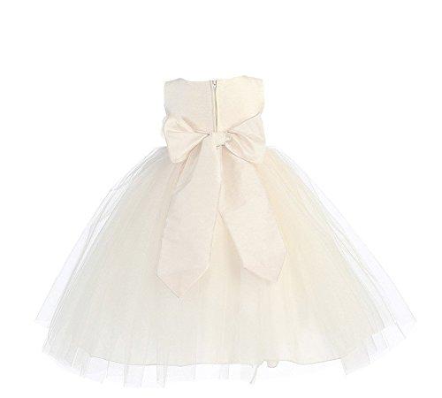 Blossom Poly Silk Bodice & Tulle Skirt Flower Girl Dress (3T, Ivory/Ivory)