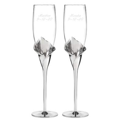 Calla Lily Flutes Set of 2 Personalized Engraved Wedding Accessories Bride & Groom Toasting Glasses