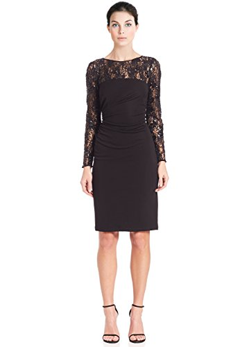 David Meister Sequin Embellished Jersey Long Sleeve Cocktail Dress David Meister Jersey