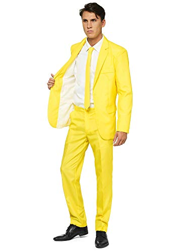 OFFSTREAM Plain Colored Suits for Men- Costumes Include Jacket Pants and Tie, Plain Yellow, Large