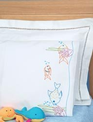(Bulk Buy: Jack Dempsey Children's Stamped Pillowcase With White Perle Edge 1/Pkg Fish At Play (2-Pack))