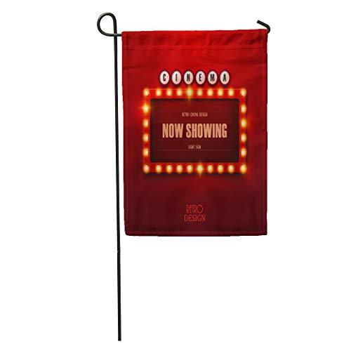 Semtomn Garden Flag Colorful Cinema Retro Light Sign Vintage Casino Bulb Signboard Billboard Home Yard House Decor Barnner Outdoor Stand 28x40 Inches -