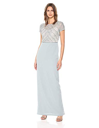 Adrianna Papell Women's New Deco Beaded Mesh Bodice with Knit Crepe Column Skirt, Blue Heather, 6