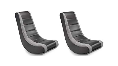 Crew Furniture Home Theater Recliner Classic Video Rocker Designed Heavy Use - Black/Grey Set of 2