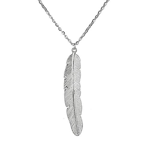(MIXIA Fashion Feather Pendant Necklace Bohemian Style Leaf Long Necklace for Women Sweater Chain Accessories (Silver))