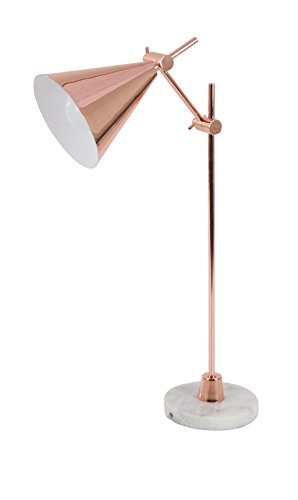Deco 79 67370 Rose Gold Iron and Marble Triangle Shade Task Lamp, Gold/White, 2 Piece (Lamp Rose Task Gold)