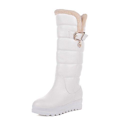 Boots Round Allhqfashion Top Closed Women's Pu Mid White Toe Heels On Low Pull RZPwqpf