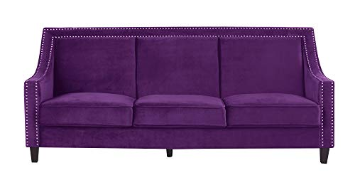AN Camren Sofa Velvet Upholstered Swoop Arm Silver Nailhead Trim Espresso Finished Wood Legs Couch Modern Contemporary Purple ()
