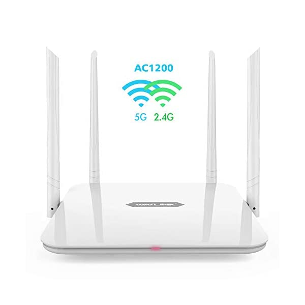 WiFi Router,WAVLINK 1200Mbps WiFi Router,High Power Wireless Wi-Fi Router,Dual Band 5Ghz+2.4Ghz with 2 x 2 MIMO 5dBi Antennas Internet Router