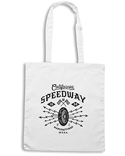 FOR MONOCHROME HIPSTER Speed CALIFORNIA LABEL BADGE SPEEDWAY BIKER Borsa Shopper VINTAGE Bianca Shirt TB0327 FFqB4TwU