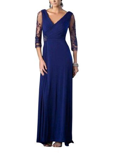 Spalte Mantel BRIDE Abendkleid Mutter der Braut bodenlangen V GEORGE Ausschnitt Blau Chiffon wYqXppF