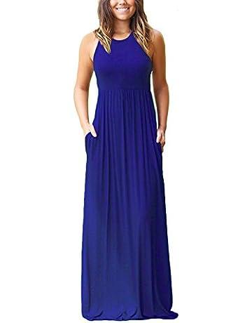 b7142068c GRECERELLE Women's Sleeveless Racerback Loose Plain Maxi Dresses Casual  Long Dresses with Pockets