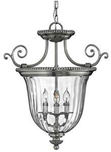 Hinkley 3613PW Traditional Three Light Pendant Foyer from Cambridge collection in Pwt, Nckl, B/S, Slvr.finish,