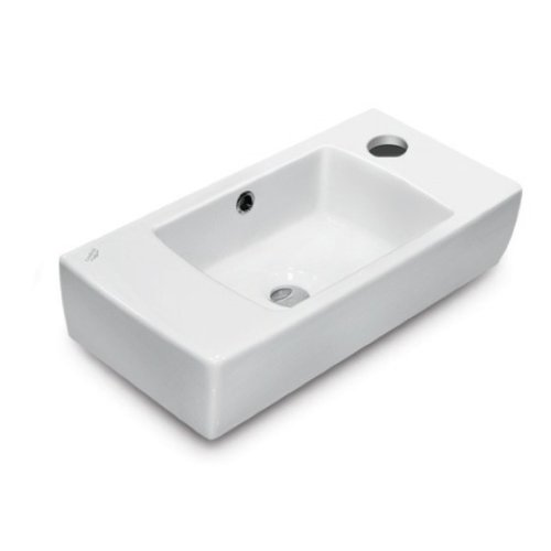 CeraStyle 001500-U-One Hole City Rectangular Ceramic Wall Mounted/Self Rimming Bathroom Sink, White by CeraStyle