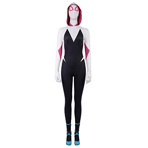 Gwen Jumpsuit Spider Cosplay Zentai Womens Girls Hooded Bodysuit Costume S -