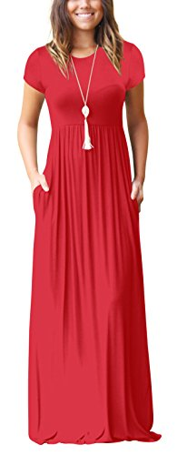 701d5dd18f Freemale Womens Short Sleeve Crewneck Long Dresses Casual Long Maxi Dress  with Pockets
