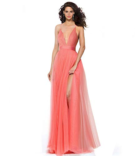 Spaghetti Straps Long Evening Dress - Alluring deep v-Neckline Spaghetti Straps Criss-Cross Open Back Tulle Dual Front Slits Evening Prom Formal Dress (Coral, XL)