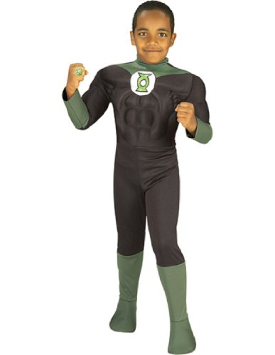 Green Lantern Child Costumes (Rubie's Costume Green Lantern Deluxe Muscle Chest Child Costume, Medium)