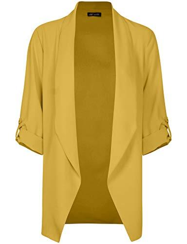 - Michel Womens Open Front Blazer Casual 3/4 Roll UP Sleeve Cardigan Blazer Mustard Small