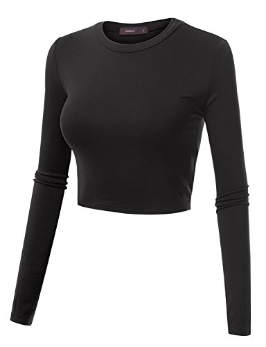 Women's Basic Black Cropped Top - 4