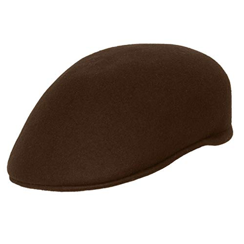 Levine Hat 9th Street Seville British Dome Ascot Cap 100% Wool (Large (fits 7 1/4 to 7 3/8), Brown)