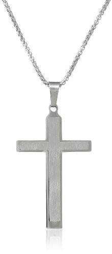 Men's Stainless Steel Two Layers Cross Pendant Necklace, 24