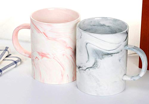 Momugs Couple Mug Set - 13 Ounce Marble Ceramic Coffee Mug Set - Unique Wedding Gift For Bride and Groom/Wedding Anniversary - Present for Husband and Wife/Bridal Shower Engagement Valentine's day - Marble Coffee Mug